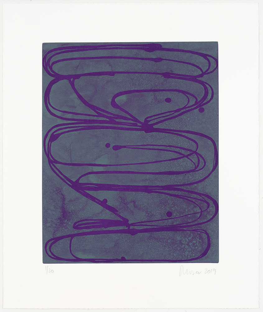 """Jill Moser: """"Violets"""", 2019. Aquatint, edition of 20. Image: 17"""" x 14"""", sheet: 23 1/2"""" x 20"""". From the """"Chroma Six"""" series of aquatints. Published by Manneken Press."""