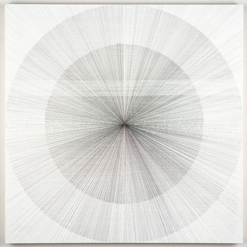 "Jonathan Higgins: ""Untitled 1 (white)"", 2019. Silver and copper on white acrylic ground on panel. 30"" x 30"" x 2"""