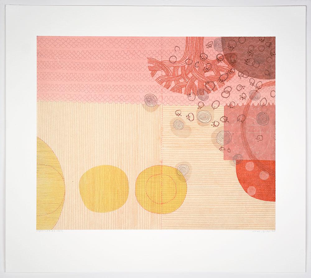 "Sarah Smelser: ""Neighborhood Pride I (Kala)"", 2019. Monotype, chine collé, 22"" x 25""."