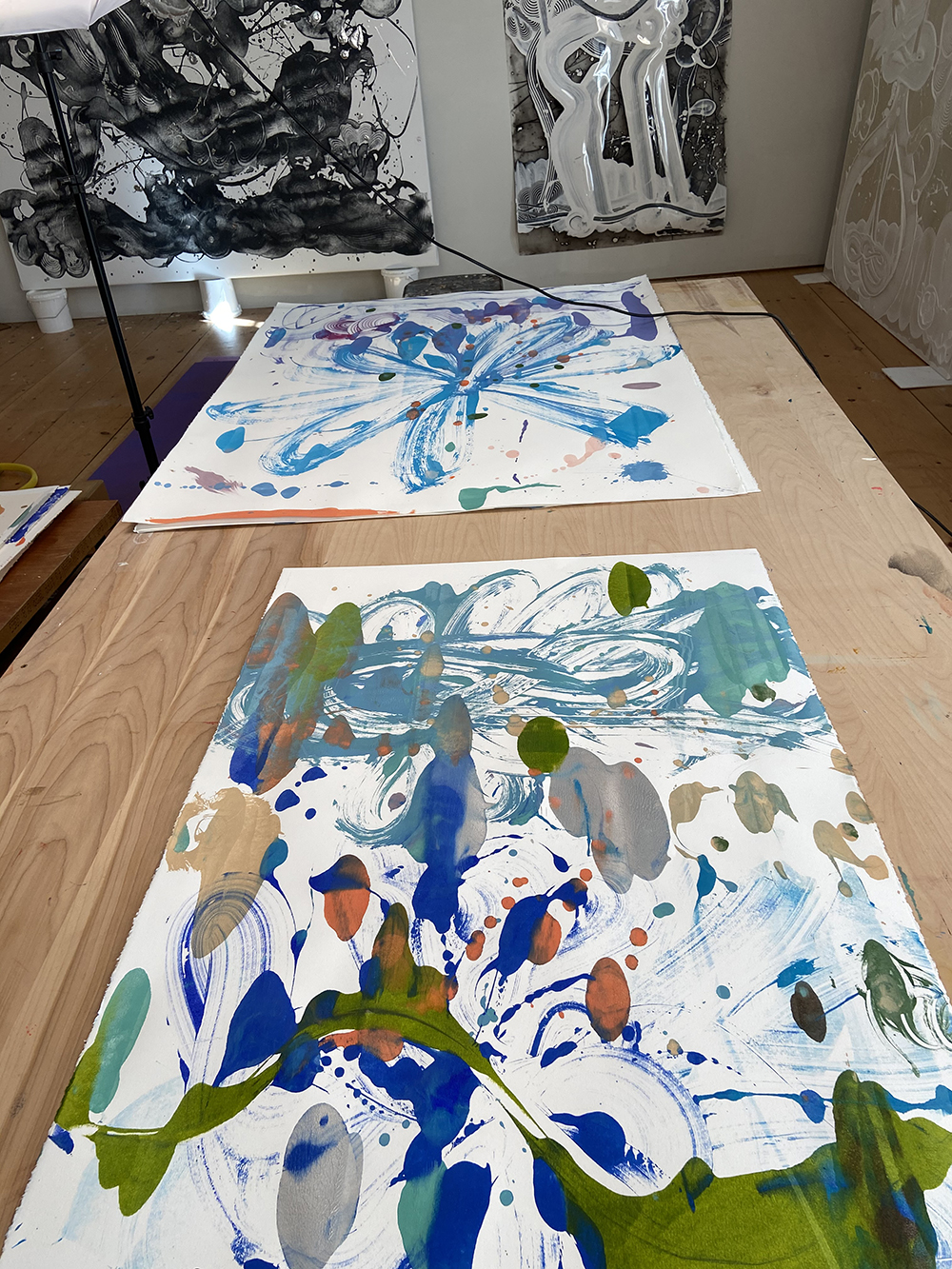 Catherine Howe studio: monotypes in progress 3