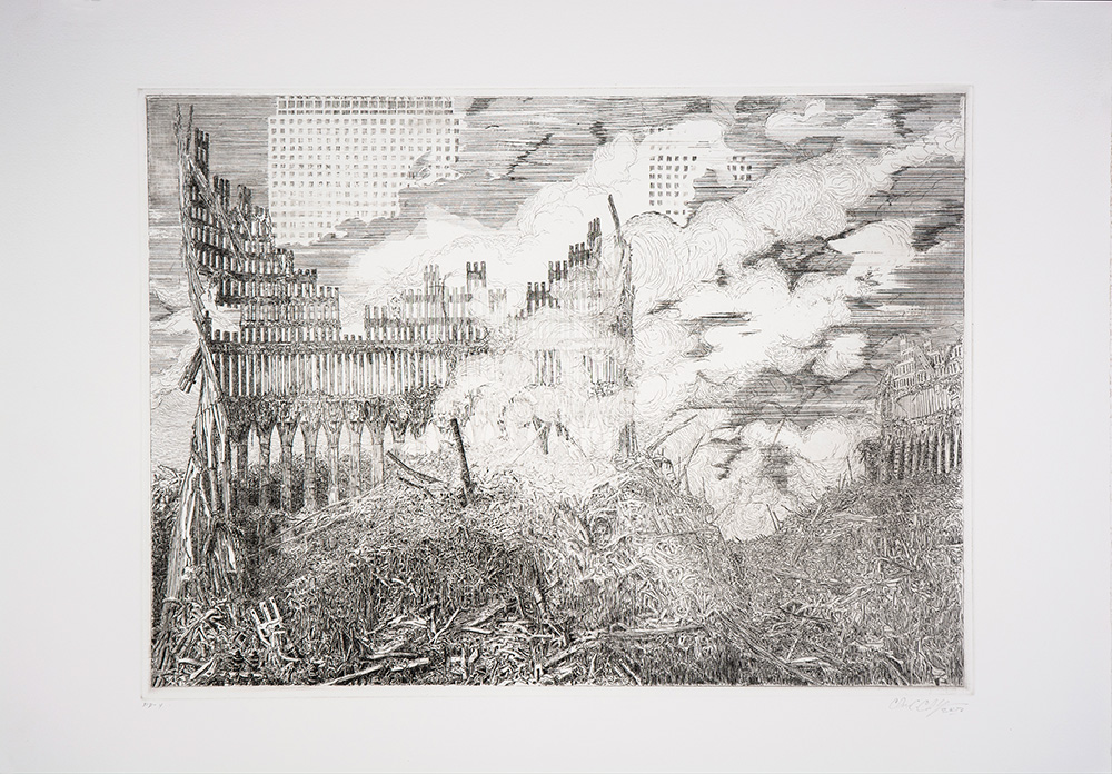 "Chris Clarke: ""Untitled (WTC)"", 2002. Etching"