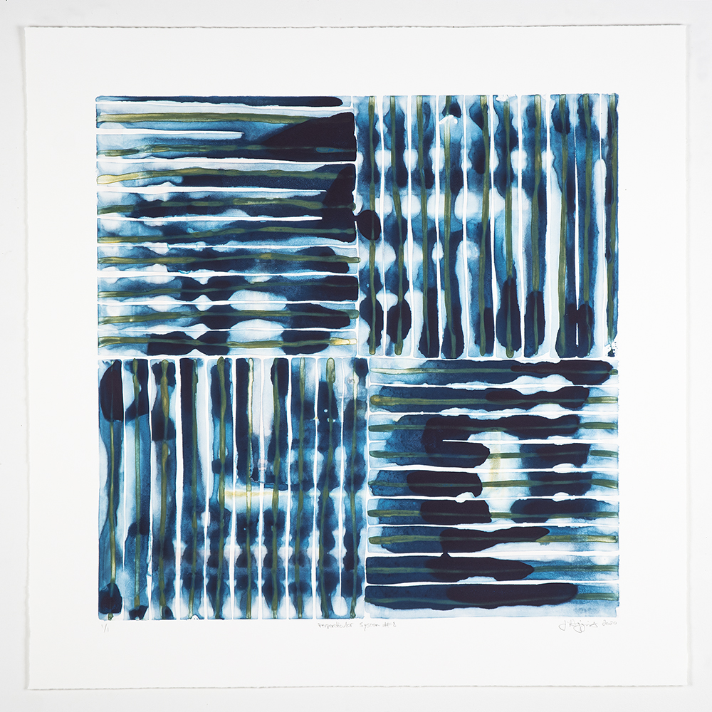 "Jonathan Higgins: ""Perpendicular System #8"", 2020. Monotype, 30"" x 30"""