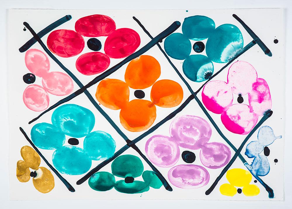 """Judy Ledgerwood: """"Field Of Flowers #2"""", 2020. Monotype, 21 1/4"""" x 31"""". Published by Manneken Press."""