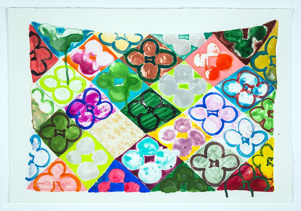"""Judy Ledgerwood: """"Field Of Flowers/Garden"""", 2020. Monotype, 15"""" x 22"""". Published by Manneken Press."""