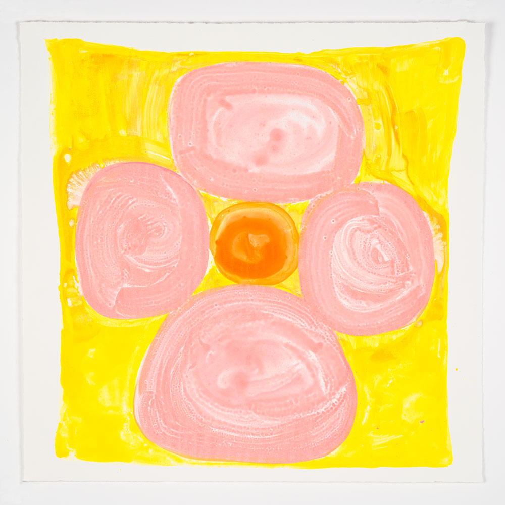 "Judy Ledgerwood: ""Inner Vision: Pink + Yellow + Orange"", 2020. Monotype, 16"" x 16"". Published by Manneken Press."