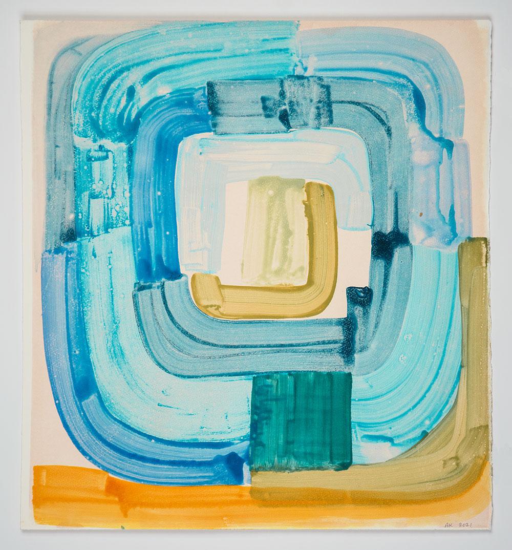 "Anna Kunz: ""Flood Tide #17"", 2021. Monotype, 22"" x 20"". Published by Manneken Press."