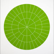 """Array 700/Green"", 2006. Woodcut, edition of 20. 700 mm diameter/33"" x 33""."