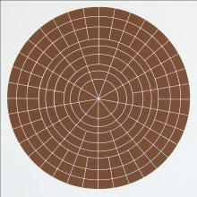 """Array 500/Tan"", 2006. Woodcut, edition of 20. 500 mm diameter/24 ½"" x 24 ½""."