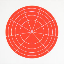 """Array 350/Red"", 2006. Woodcut, edition of 20. 350 mm diameter/19"" x 19""."