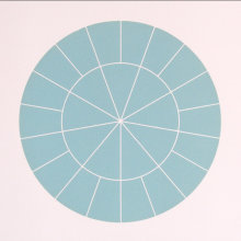"""Array 350/Blue-Green"", 2006. Woodcut, edition of 20. 350mm diameter/19"" x 19""."