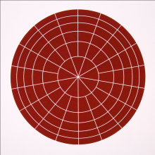 """Array 500/Brown"", 2006. Woodcut, edition of 20. 500 mm diameter/24 ½"" x 24 ½""."
