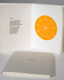 """The Orange"", 2006. Artist's book: letterpress and woodcut. Nine Poems by Todd Young, three woodcuts by Rupert Deese. A single signature book, hand-sewn with linen thread in a folded, Rives BFK Gray cover with printed title. Signed and numbered by the poet and the artist in pencil. Edition of 50. 7 ⅜"" x 5 ¾"". 14 pages."