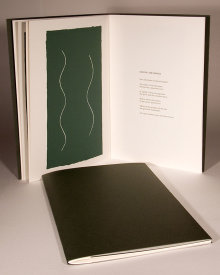 """Surf Music"", 2000. Artist's book: letterpress and silkscreen. Nine poems by R. Sam Deese, nine images by Rupert Deese. A single signature book, printed on Fabriano Artistic paper, hand-sewn with linen thread in a folded, dark-green cover debossed with the title. Signed and numbered by the poet and the artist in pencil. Edition of 200. 12"" x 8"". 12 pages."