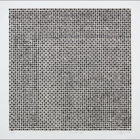 """Black & Gray Dots"", 2006. Lithograph with chine colle', edition of 12. Image: 16"" x 16"", paper: 20"" x 20""."