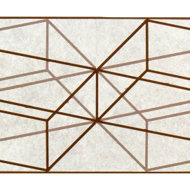 """Double Prism"", 2009. Woodcut and chine colle', edition of 10. Image: 15"" x 60"", paper: 21"" x 66""."