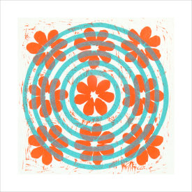 """""""Poppies With Target"""", 2003. Woodcut, chine colle', edition of 20. Image: 12"""" x 12"""", paper: 18 ½"""" x 18 ½""""."""