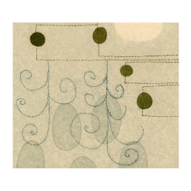 """""""Coincidence (WY)"""", 2012. Monotype, chine colle'. Image: 7"""" x 8"""", paper: 14"""" x 14""""."""