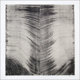 """Parallel Lines, Horizontal"", 2000. Lithograph with chine colle', edition of 10. Image: 16"" x 16"", paper: 20"" x 20""."