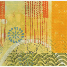"""Betsy Ross Garden"", 2016. Monotype, chine collé. Image: 8 1/4"" x 10"", sheet: 13 3/8"" x 14 1/2""."