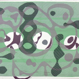 """""""Untitled"""", 2010. Monotype on fabric and paper. 30"""" x 42""""."""