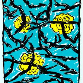 """Blue Branches, 2005. Linoleum cut, edition of 20. 27 ½"" x 25""."