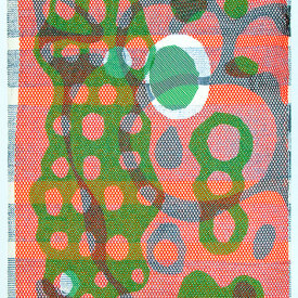 """Untitled"", 2010. Monotype on fabric and paper. 30"" x 22""."