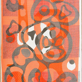 """""""Untitled"""", 2010. Monotype on fabric and paper. 42"""" x 30""""."""