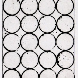 """20 Circles"", 2002. Etching, edition of 10. Image: 11 ½"" x 8 ½"", paper: 17"" x 14""."