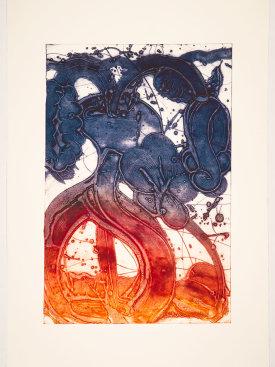 """Bouquet (mum, orange, rose, violet)"", 2019. Unique collagraph, 44"" x 30 1/2""."