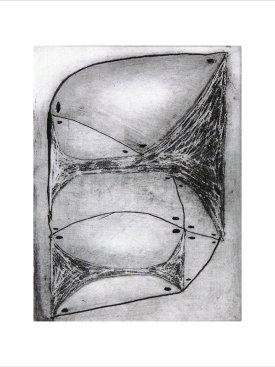 """Gridshell"", 2014. Direct gravure. Image: 8"" x 6"", paper: 14"" x12"". Edition of 16."