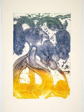 """""""Bouquet (mum, pale lemon, red, blue, hunter)"""", 2019. Unique collagraph, 44"""" x 30 1/2""""."""