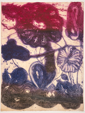 """Garden (daisy, magenta, violet, pheasant)"", 2019. Unique collagraph and relief print, 42 1/2"" x 33""."