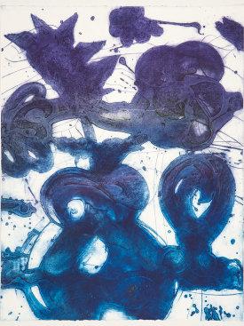 """""""Bouquet (sweet pea, blue, grey, violet)"""", 2019. Unique collagraph, 42 1/2"""" x 33""""."""