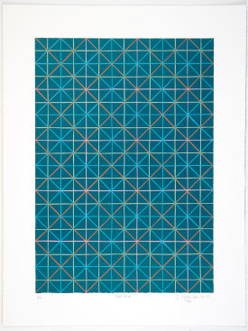 """Blue Grid"", 2014. Relief print with chine collé. Image size: 20"" x 14"", sheet size: 25"" x 19"". Edition of 10."