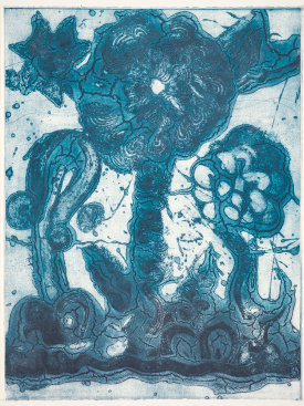 """Garden (thalo blue, green, light blue)"", 2019. Unique collagraph and relief print, 42 1/2"" x 33""."