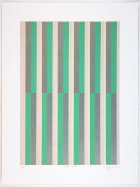 """Offset Stripes"", 2014. Relief print with chine collé. Image size: 20"" x 14"", sheet size: 25"" x 19"". Edition of 10."