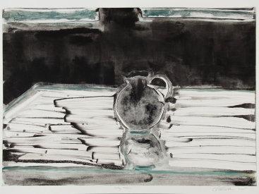 """""""Gray Vase"""", 2005. Monotype. Image: 17"""" x 24"""", paper: 22"""" x 30""""."""