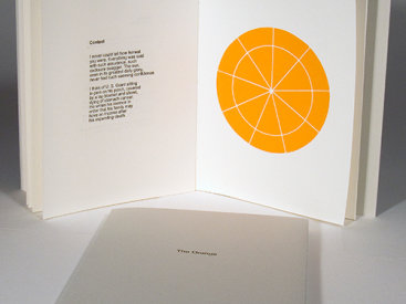 """""""The Orange"""", 2006. Artist's book: letterpress and woodcut. Nine Poems by Todd Young, three woodcuts by Rupert Deese. A single signature book, hand-sewn with linen thread in a folded, Rives BFK Gray cover with printed title. Signed and numbered by the poet and the artist in pencil. Edition of 50. 7 ⅜"""" x 5 ¾"""". 14 pages."""