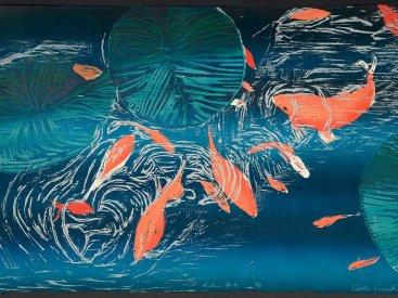 """Festina Lente"", 1996. Color reduction woodcut, edition of 8. 24"" x 36"""