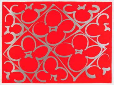 "Judy Ledgerwood: ""Chromatic Patterns After the Graham Foundation - Red"", 2014. Relief and lithograph with aluminum dust. 22"" x 30"". Edition of 20."