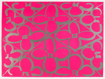 "Judy Ledgerwood: ""Chromatic Patterns After the Graham Foundation - Pink"", 2014. Relief and lithograph with aluminum dust. 22"" x 30"". Edition of 20."