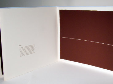 """""""The Center of the Lake"""", 2000. Artist's book: letterpress and silkscreen. Nine poems by Todd Young, ten images by Rupert Deese. A single signature book, printed on Stonehenge paper, hand-sewn with linen thread in a folded, pale blue cover debossed with the title. Signed and numbered by the poet and the artist in pencil. Edition of 200. 10 ¾"""" x 12 ⅛"""". 14 pages."""