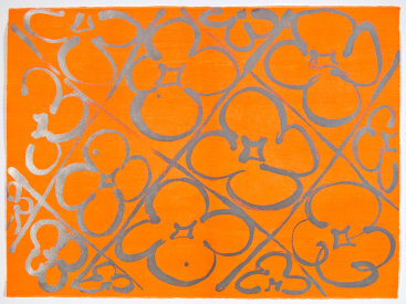 "Judy Ledgerwood: ""Chromatic Patterns After the Graham Foundation - Orange"", 2014. Relief and lithograph with aluminum dust. 22"" x 30"". Edition of 20."