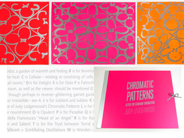 "Deluxe edition portfolio: ""Chromatic Patterns After the Graham Foundation"", 2014. Three lithographs with relief and aluminum dust by Judy Ledgerwood and a poem by John Yau, housed in custom portfolio case. Yau's poem, ""26 Letters for Judy Ledgerwood"", is silkscreened in silver ink.  Poem and prints are 22"" x 30"". The portfolio case is covered in pink fabric with title and colophon silkscreened in silver. Grommet and grosgrain ribbon closure. The deluxe edition is limited to 8 sets."