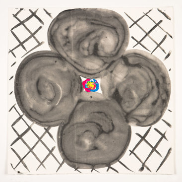 """""""Inner Vision: Black + White"""", 2020. Monotype, 16"""" x 16""""."""