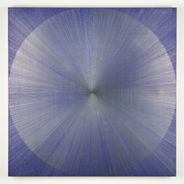 """Untitled III (blue)"", 2019. Silver on ultramarine blue acrylic ground on panel. 30"" x 30"" x 2.5"""