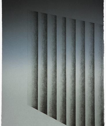 """Upside 4"", 2016. Monoprint, 27"" x 21 ½""."