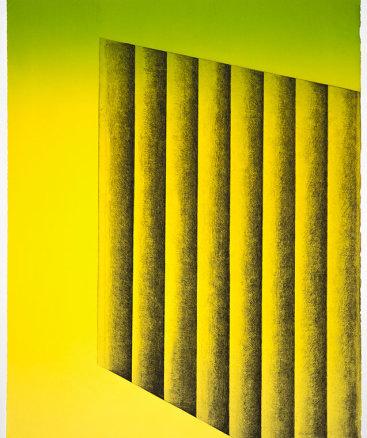 """Upside 1"", 2016. Monoprint, 27"" x 21 ½""."