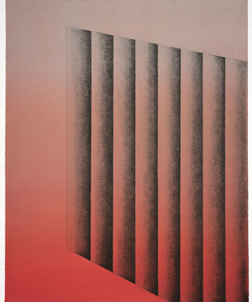 """Upside 6"", 2016. Monoprint, 27"" x 21 ½""."