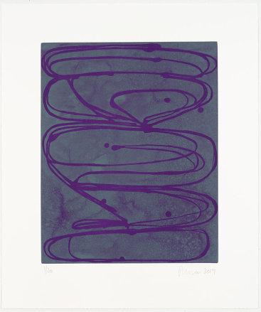 """Violets"", 2019. Aquatint, edition of 20. Image: 17"" x 14"", sheet: 23 1/2"" x 20""."
